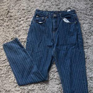 High rise pinstripe jeans